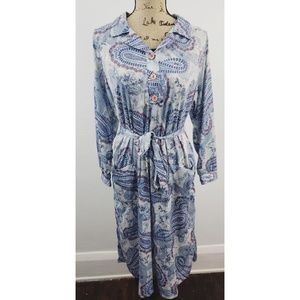 Vintage 70s 80s Tribute paisley tie waist dress